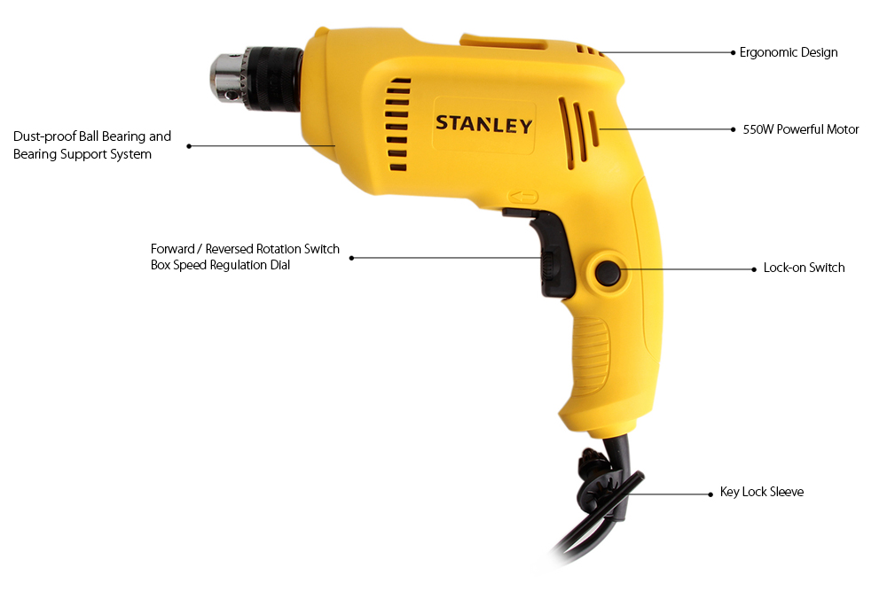 Original STANLEY STDH5510 - A9 Electric Screwdriver Impact Drill 550W 10mm Adjustable Speed Power Tool