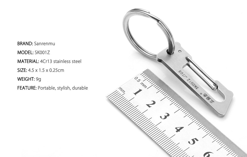 Sanrenmu SK001Z Lucky Number Stainless Steel Key Chain for Outdoor