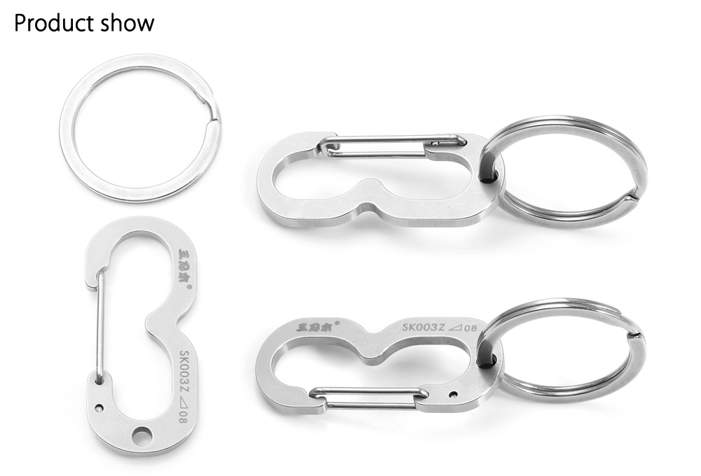 Sanrenmu SK003Z Lucky Number Stainless Steel Key Chain for Outdoor