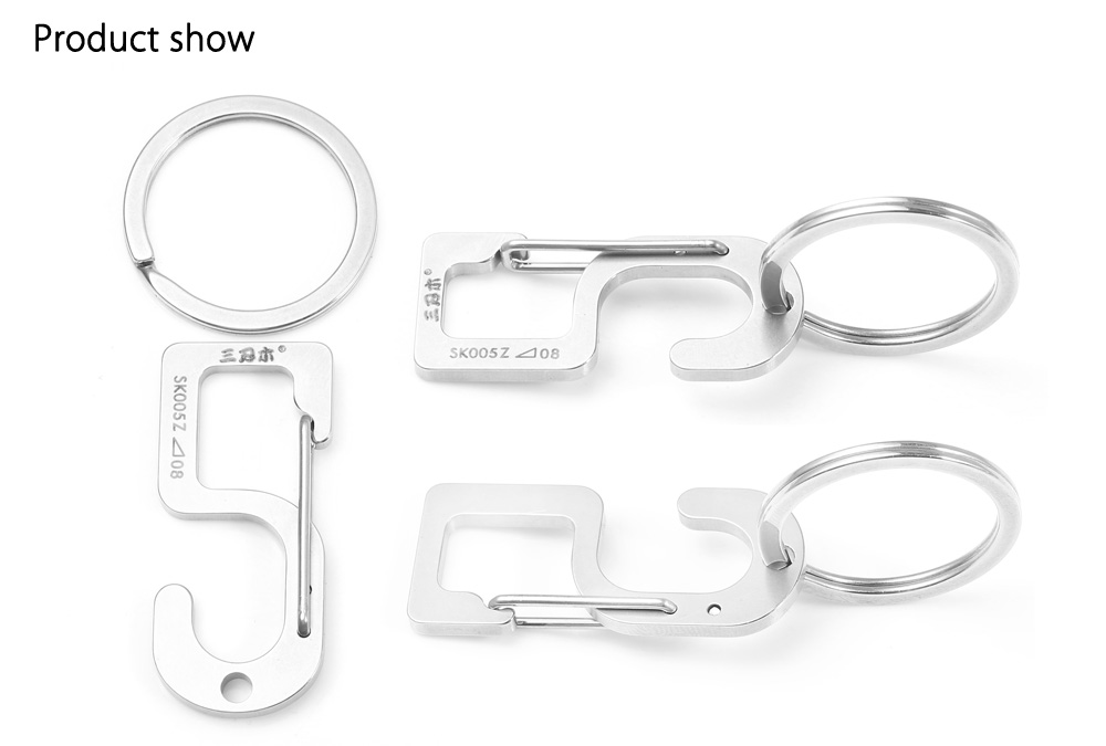 Sanrenmu SK005Z Lucky Number Stainless Steel Key Chain for Outdoor