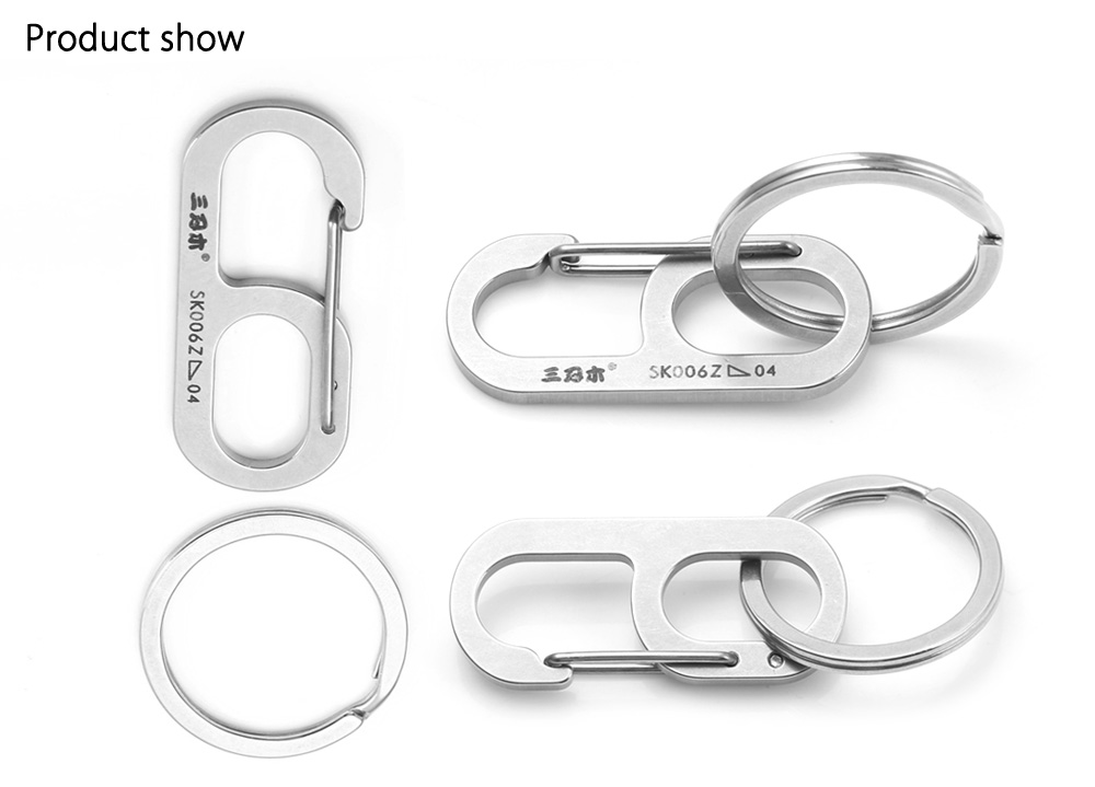 Sanrenmu SK006Z Lucky Number Stainless Steel Key Chain for Outdoor