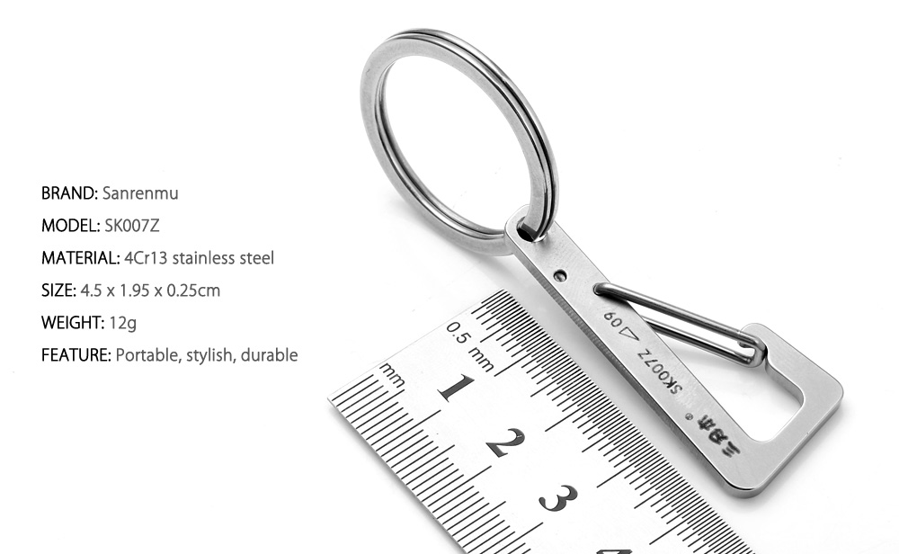 Sanrenmu SK007Z Lucky Number Stainless Steel Key Chain for Outdoor