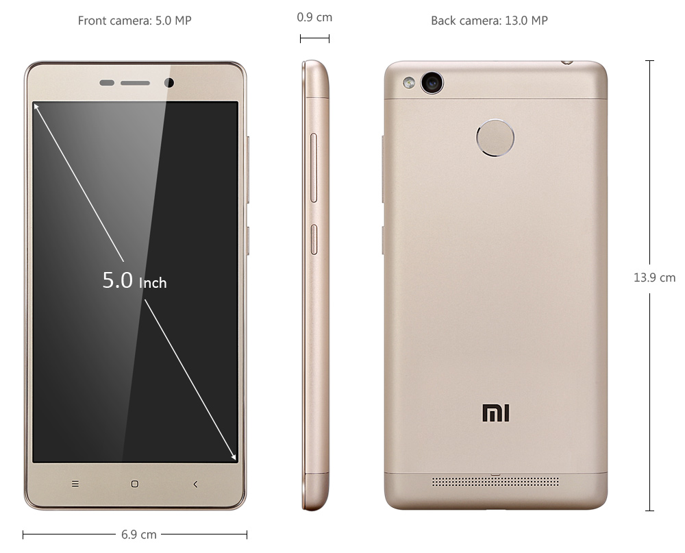 Xiaomi Redmi 3S 5.0 inch Android 6.0 4G Smartphone Qualcomm Snapdragon 430 Octa Core 1.4GHz 3GB RAM 32GB ROM Fingerprint Scanner 13.0MP Rear Camera