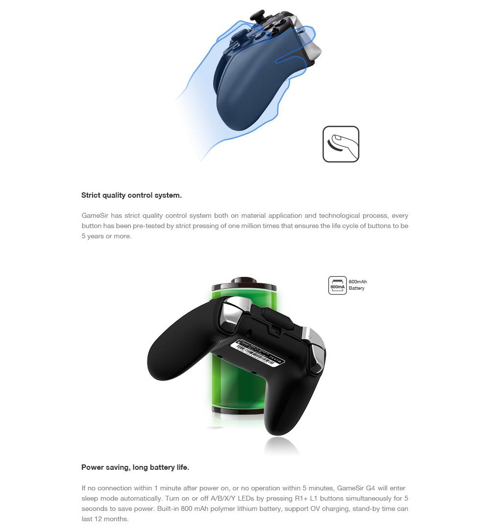 GameSir G4 Bluetooth V4.0 / 2.4G Wireless / Wired Gamepad Game Controller 32-bit MCU Chip for Android 4.0 and Later / Windows / Smartphone / TV Box / Tablet PC