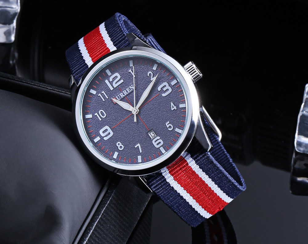 CURREN 8195 Date Function Casual Male Quartz Watch with Frosted Surface