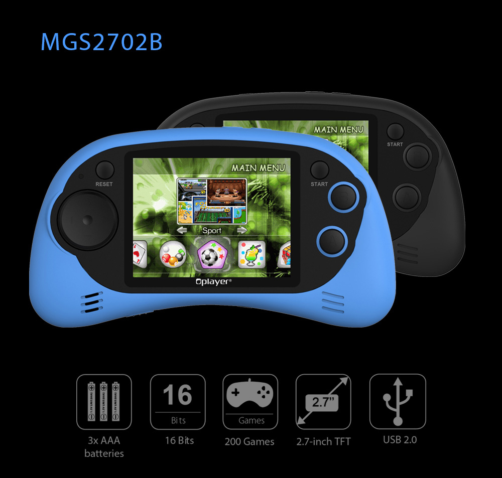 Oplayer MGS2702B Mini Handheld Game Console Controller 2.7 inch LCD TFT Screen Built-in 200 Games