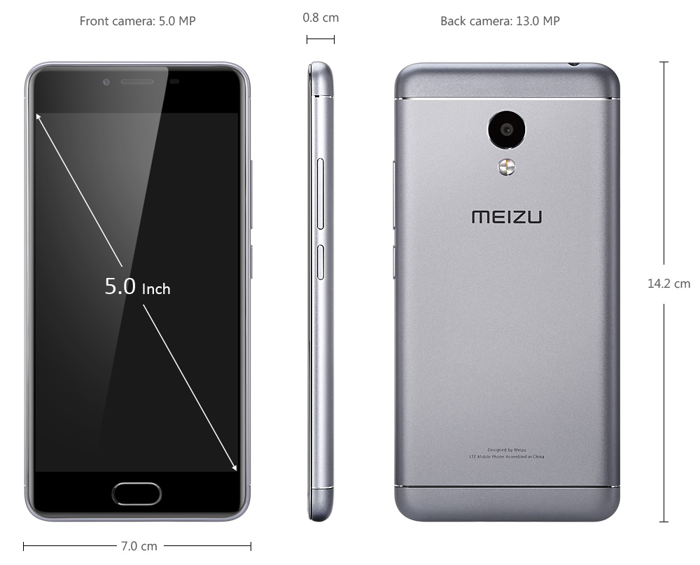 MEIZU M3S Android 5.1 4G Smartphone 5.0 inch 2.5D Arc Screen MTK6750 64bit Octa Core 2GB RAM 16GB ROM 13.0MP + 5.0MP Cameras Compass