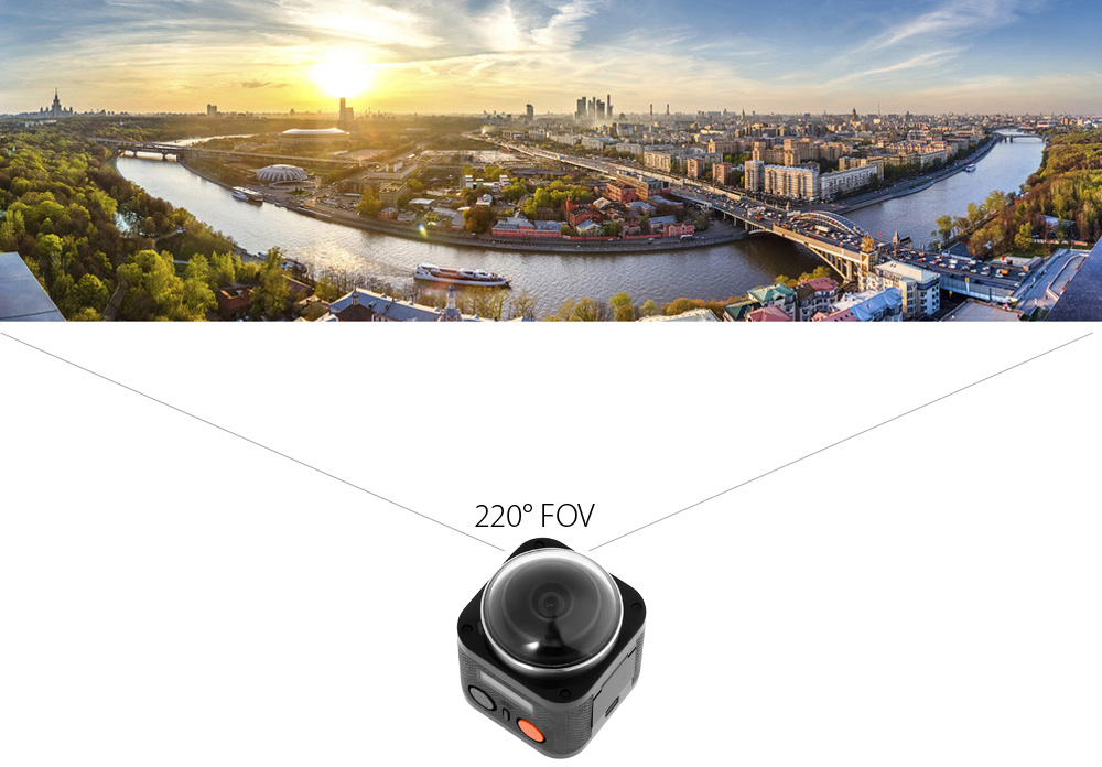 T360 4K Panorama Action Sport Camera 0.83 inch LCD Waterproof with WiFi Remote Control Watch