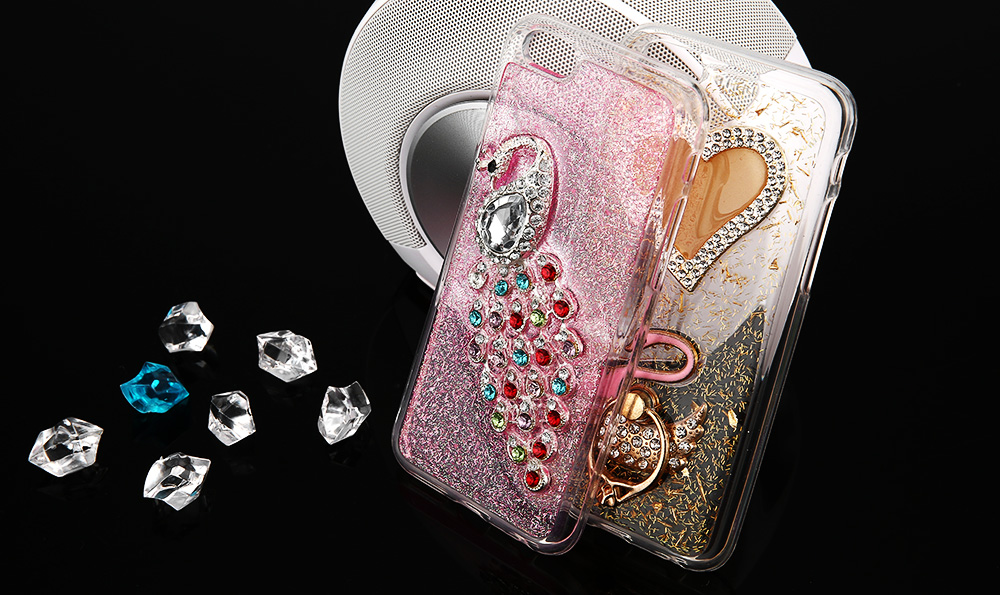 Diamond Style Protective Phone Case for iPhone 6 / 6S TPU Mobile Shell with Peafowl Pattern