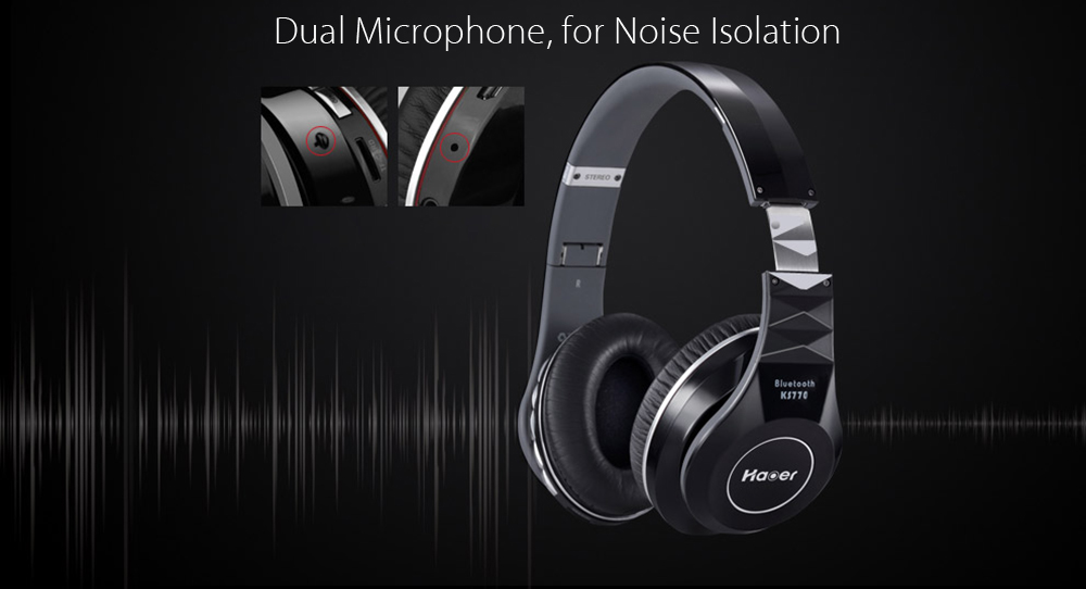 Haoer KS770 Bluetooth 4.1 Headphones Noise Canceling with Mic Hands-free Calls Volume Control