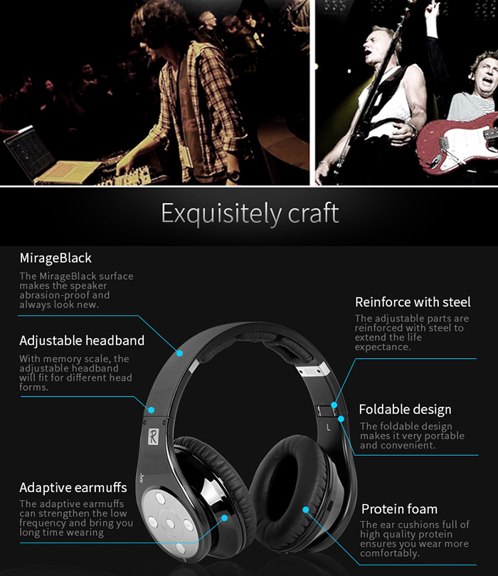 Bluedio R Bluetooth Headphones Noise Canceling with Mic Hands-free Calls Volume Control
