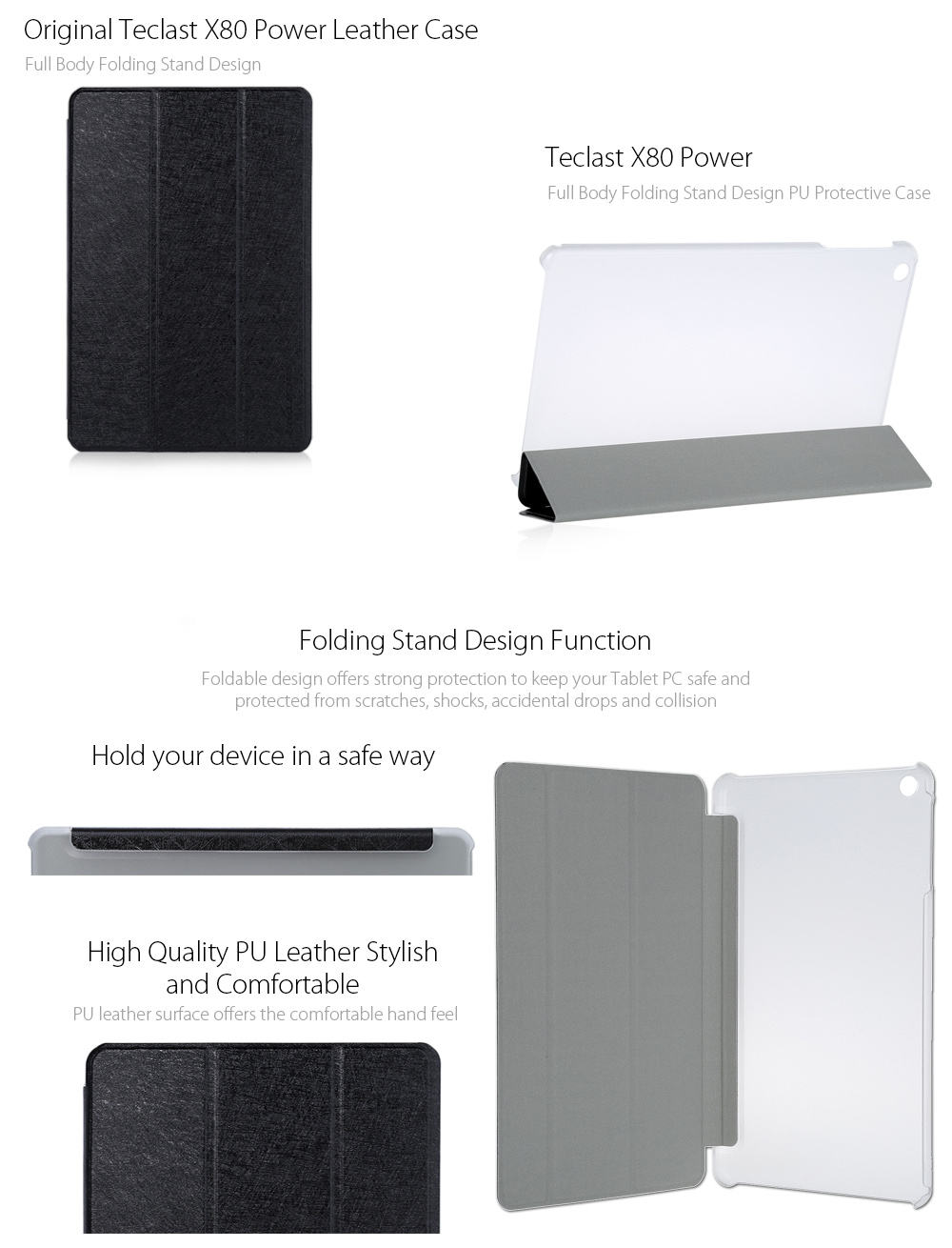 Original Teclast X80 Power PU + Plastic Protective Case with Folding Design Stand Function