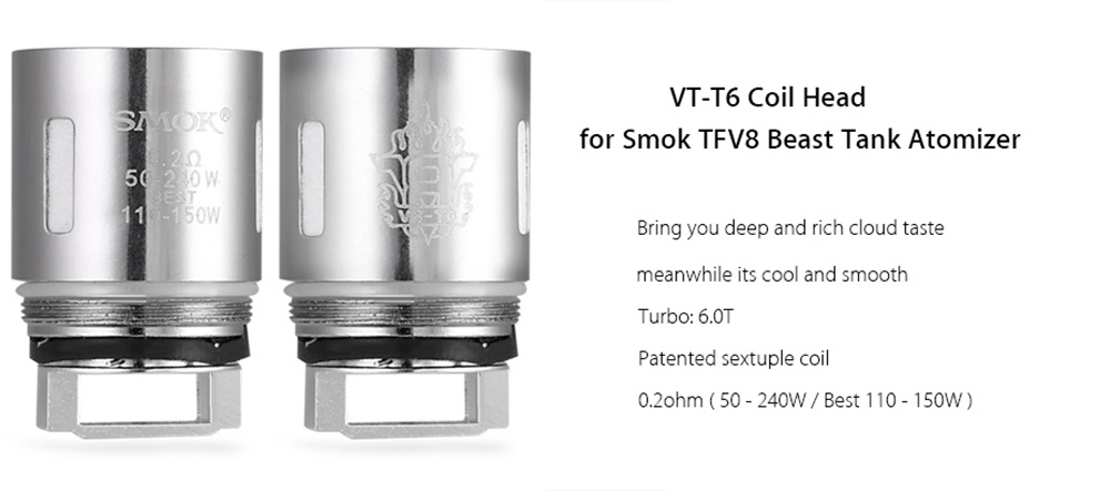 Original Smok V8 - T6 0.2ohm Coil Head with Sextuple Coil for TFV8 Beast Tank Atomizer E Cigarette Heater Core(3pcs / Pack )