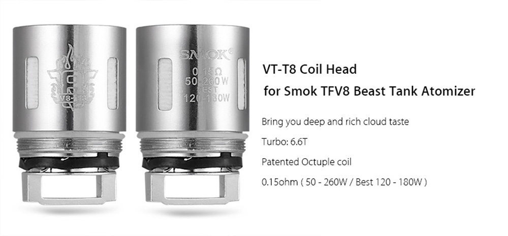 Original Smok V8 - T8 0.15ohm Coil Head with Octuple Coil for TFV8 Beast Tank Atomizer E Cigarette Coil Head ( 3pcs / Pack )