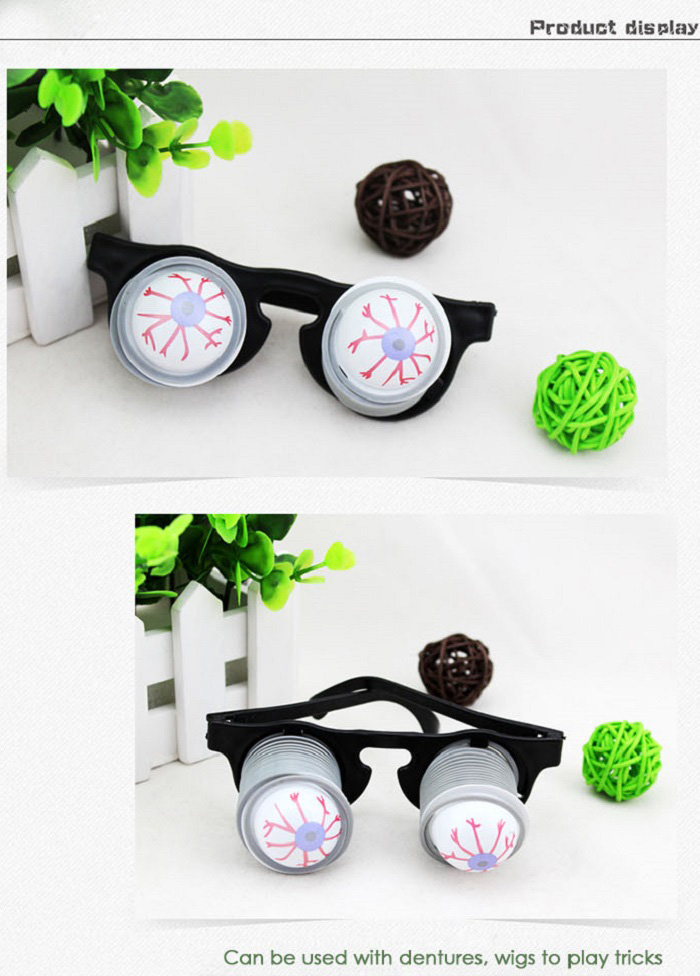 Scary Horror Props Eye Eyeball-dropping Glasses Party Bar Trick Toy