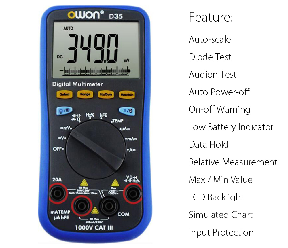 OWON D35 Portable Auto-scale Digital Multimeter with LCD Backlight