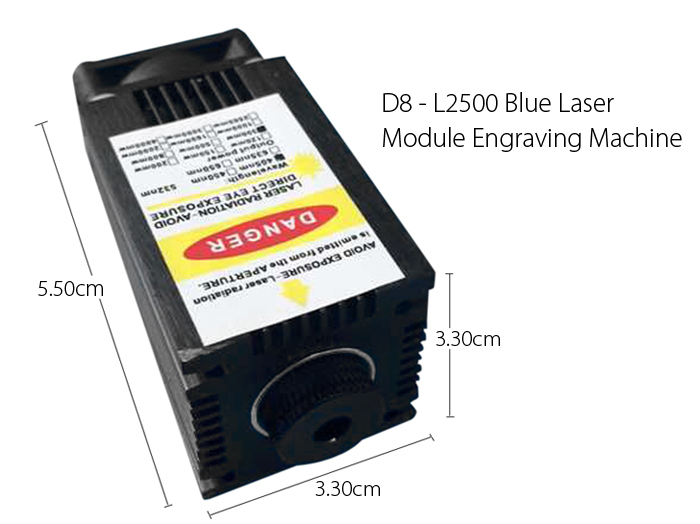 D8 - L2500 Blue Laser Module Engraving Machine 2.5W 445nm Work with Cutter / Engraver