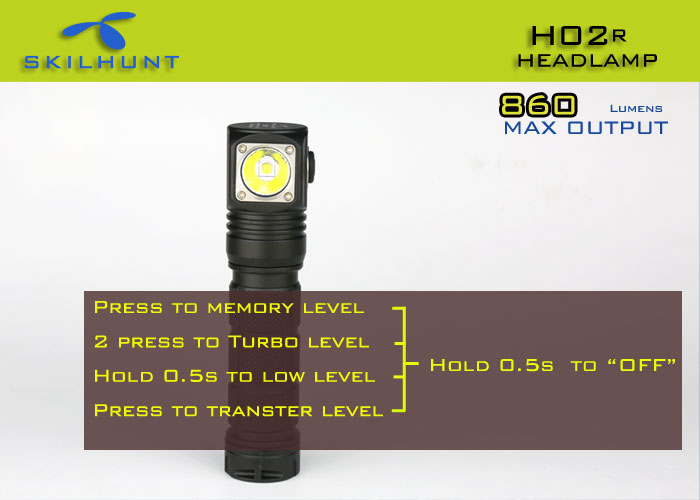 Skilhunt H02R Cree XM L2 LED Waterproof Cool White Headlight with Memory Function - 5 Modes ANSI 860Lm 1 x 18650 or 2 x CR123A Battery