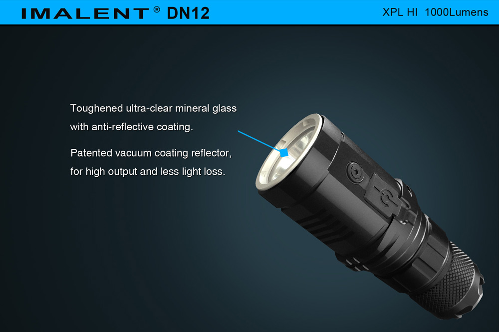 Imalent DN12 Cree XPL HI 1000Lm Rechargeable LED Flashlight LCD Stepless Dimming