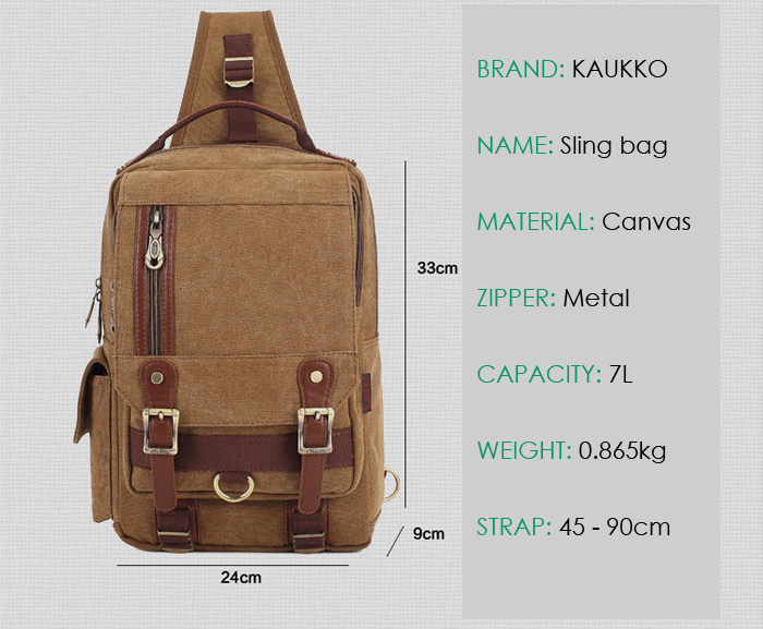 KAUKKO FD252 7L Canvas Sling Bag for Outdoor Sports