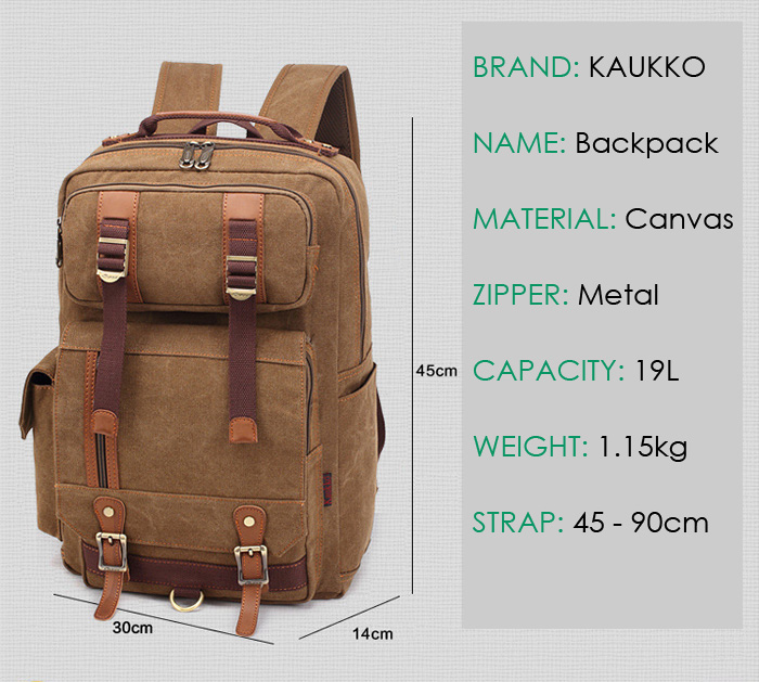KAUKKO FS261 19L Canvas Backpack for Outdoor Sports