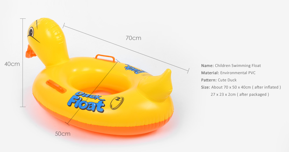 Cute Duck Inflatable Swimming Ring for Children