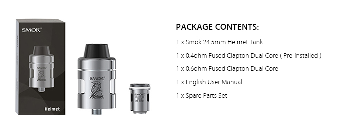 Original Smok 24.5mm Helmet Tank Atomizer Clearomizer with 2ml / 0.4ohm / 0.6ohm / U-shaped E-juice Tube for E Cigarette