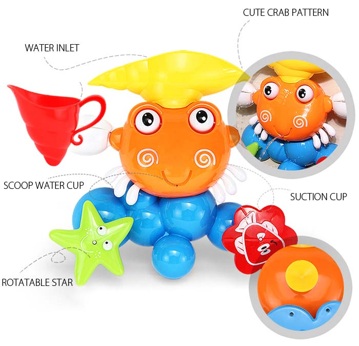 KUNSHENG Lovely Crab Pattern Bath Shower Water Spraying Toy for Kid