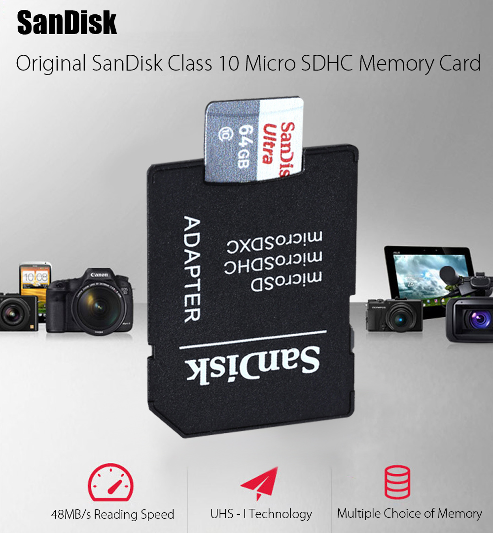 Original SanDisk 16GB Class 10 Ultra Micro SDHC Memory Card UHS - I with Card Adapter