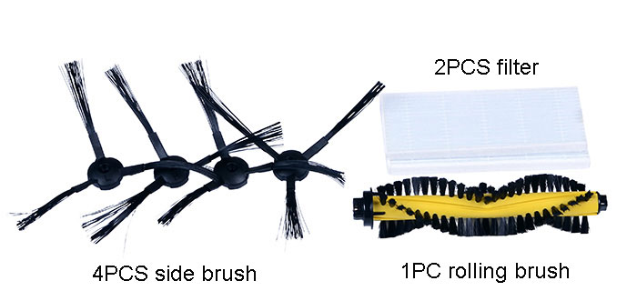 Robot Vacuum Cleaner Accessories Set for ILIFE A4 4PCS Side Brush + 2PCS Filter + 1PC Rolling Brush