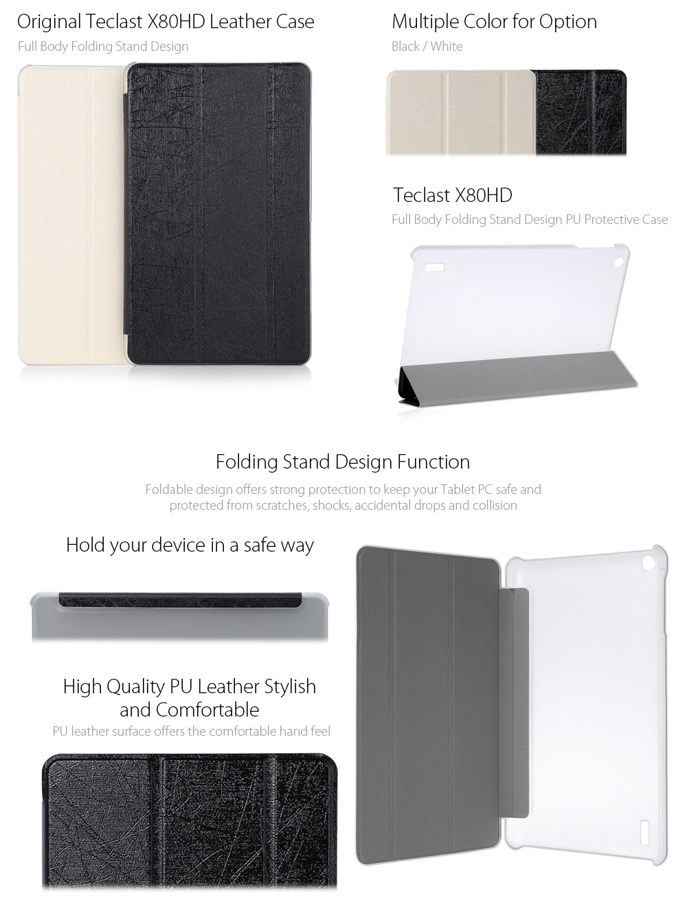 Original Teclast X80HD PU + Plastic Protective Case with Triple Folding Design Stand Function