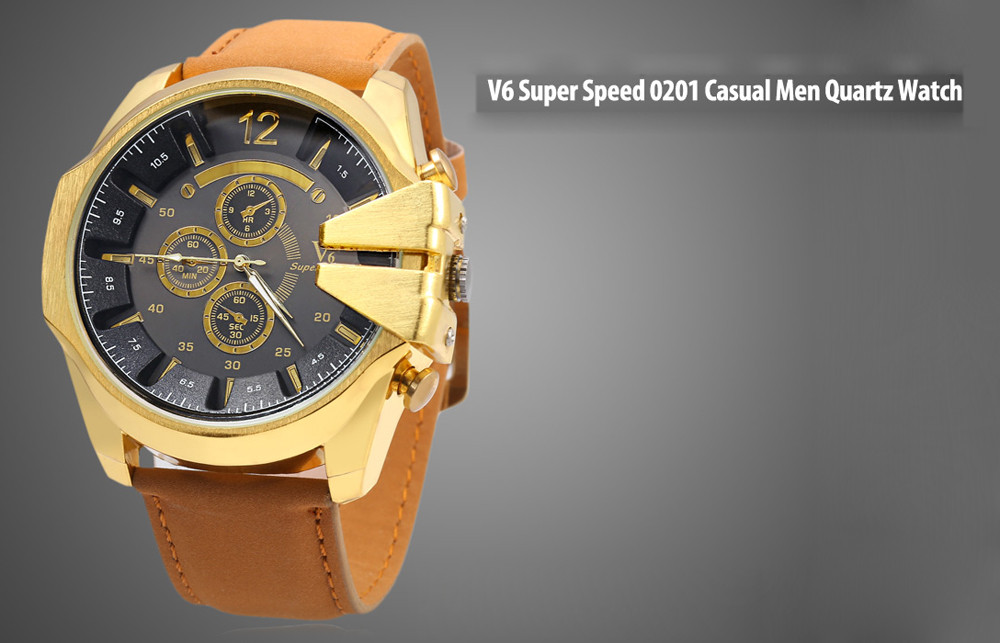 V6 Super Speed 0201 Casual Male Quartz Watch with Stereo Dial