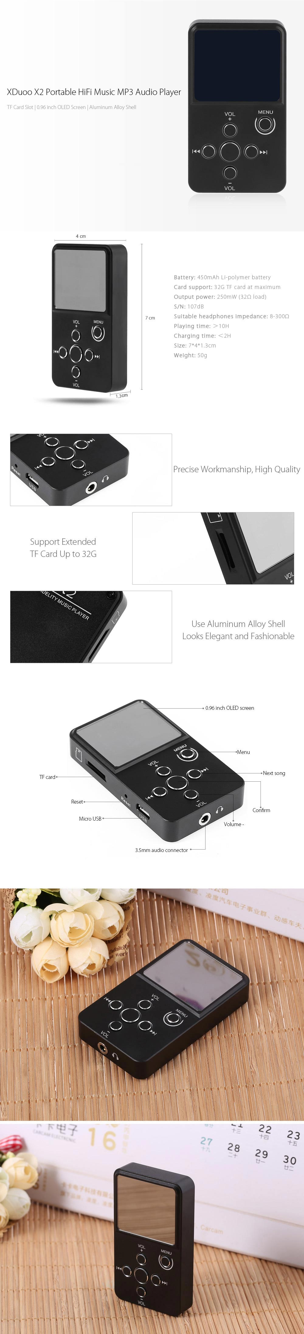 XDuoo X2 HiFi Digital Audio Player MP3 with OLED Screen TF Card Slot Aluminum Alloy Housing