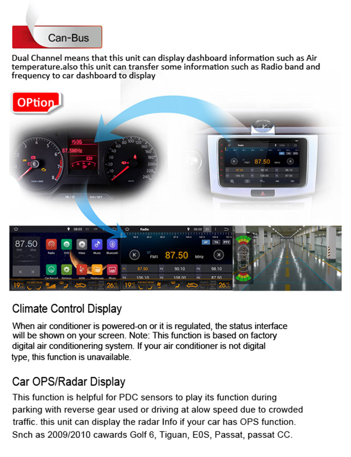 JieYou J - 9813 - 8WH 8 inch Digital Touch Screen Android 5.1 OS Cortex A9 Quad Core CPU 1G RAM 16G ROM Bluetooth / 3G / WiFi Car Multi-media Player GPS Navigation for VW Volkswagen