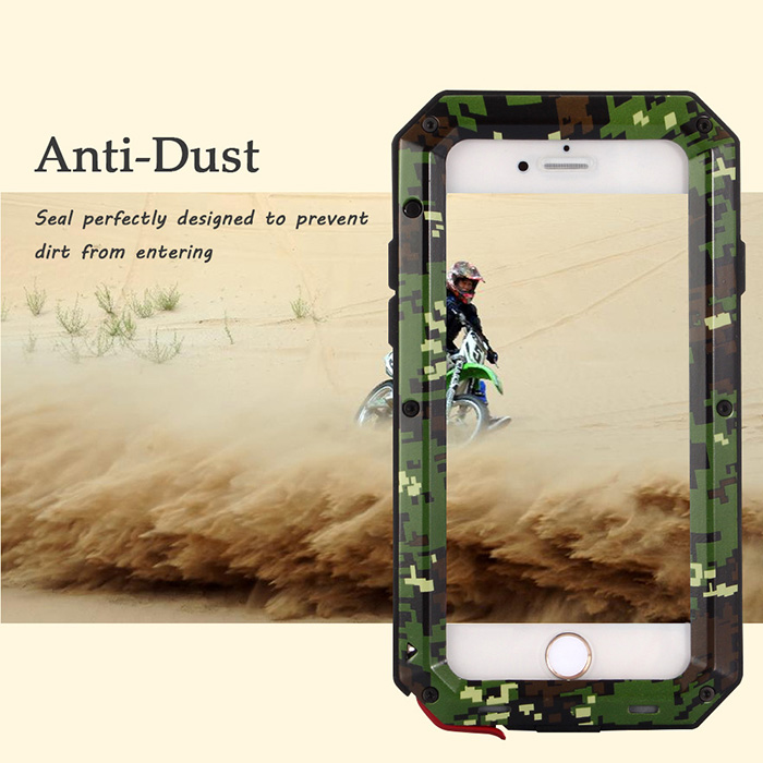 LeeHUR Metal Full Body Protective Case for iPhone 6 / 6S Water Resistance Dustproof Anti-shock Mobile Shell Camouflage Design