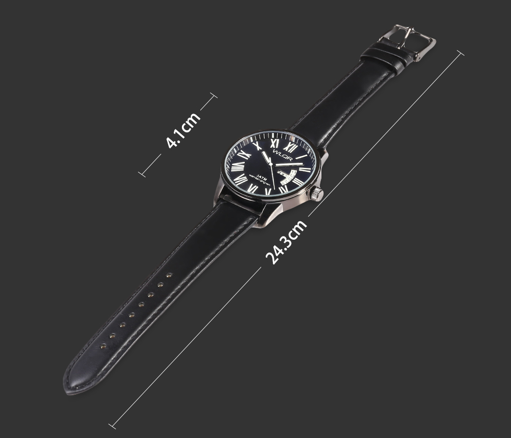 WLQR 8056 Fashion Quartz Watch with Bilingual Display for Men