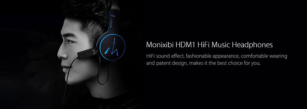 Monixibi HDM1 Headband HiFi Music Headphones Ergonomic Design with Mic Volume Control