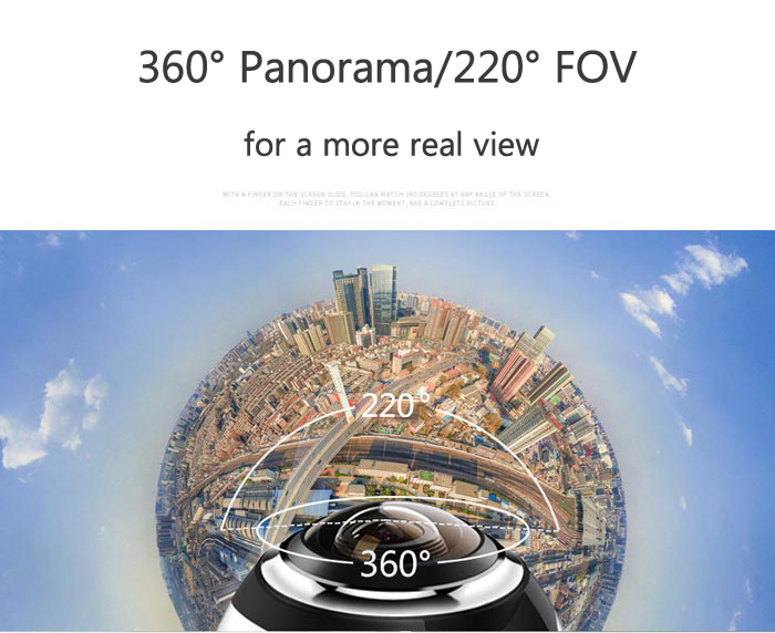 Panorama Mini Action Camera Video Camcorder HD 8MP 2448P 30fps 220 Degrees FOV