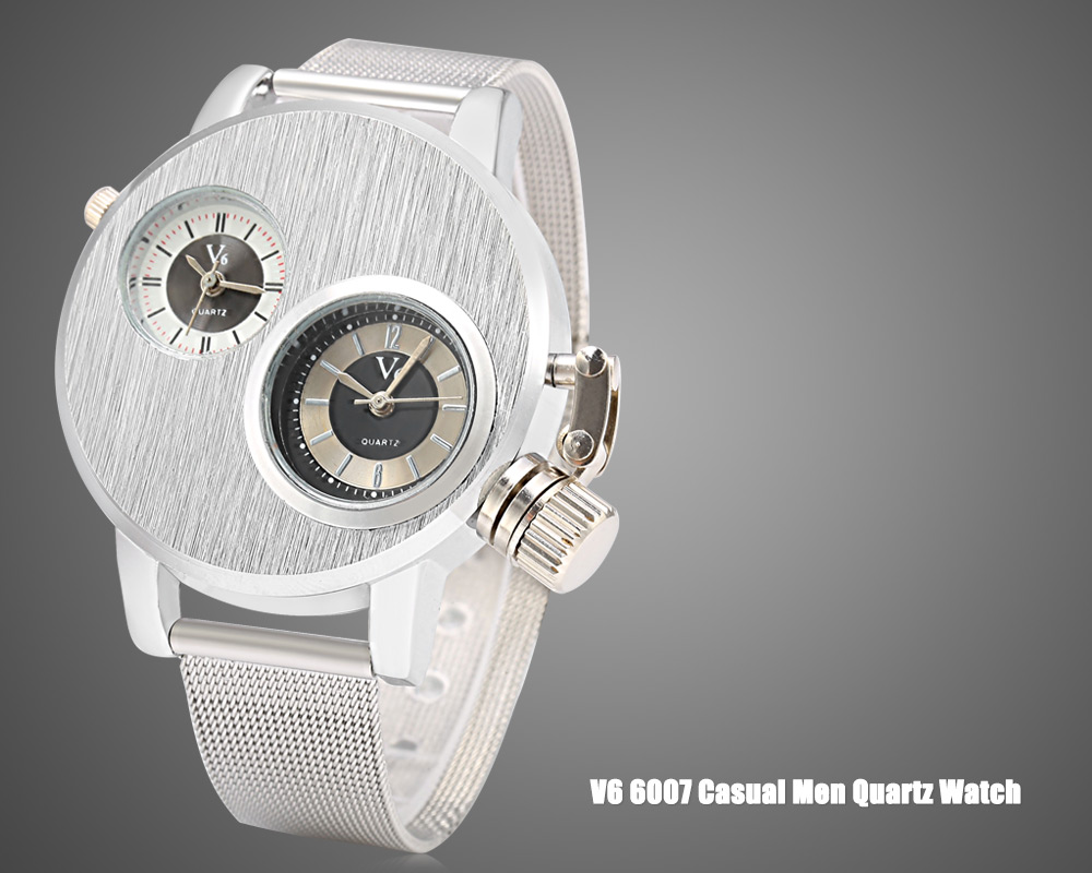 V6 6007 Casual Style Double Movt Male Quartz Watch