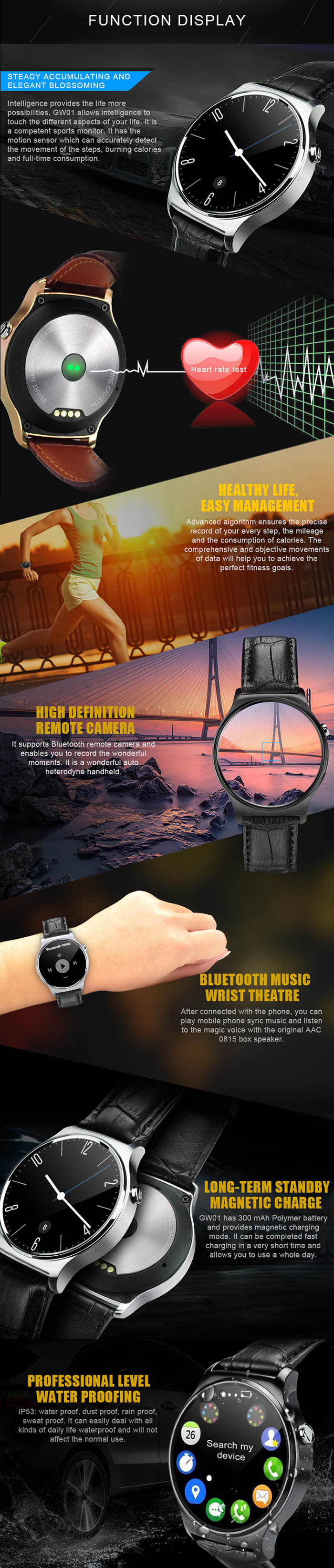 GW01 Smart Watch IPS Round Screen Life Water Resistant