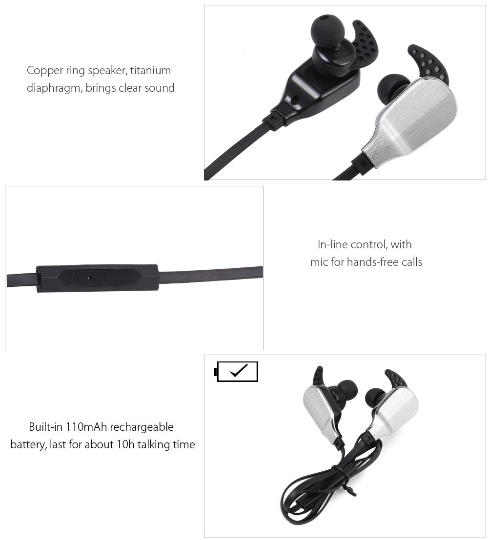 Kailuhong H901 Wireless Bluetooth 4.0 In-ear Sport Earbuds with Mic Support Hands-free Calls Volume Control