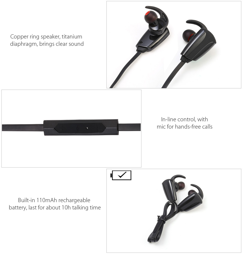 Kailuhong H903 Wireless Bluetooth 4.0 In-ear Sport Earbuds with Mic Support Hands-free Calls Volume Control