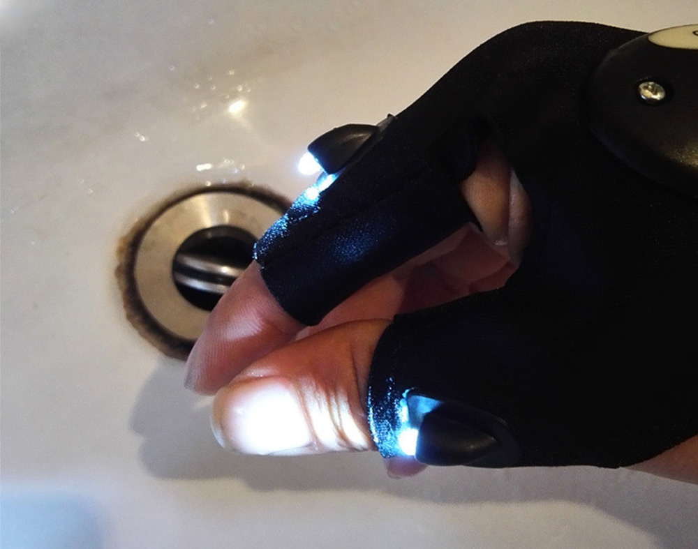 Fishing Glove with 2 LED Lights for Night Activities