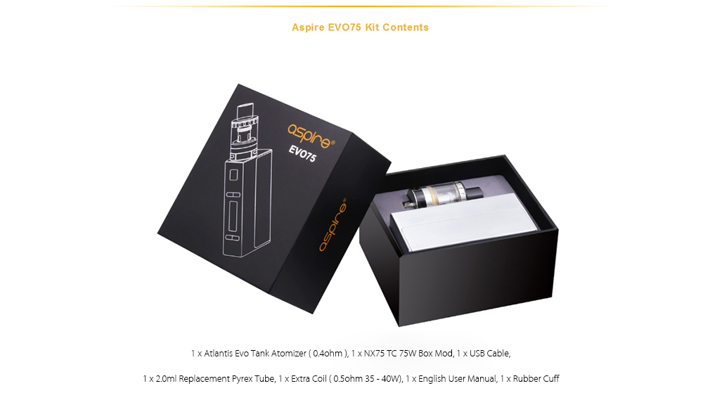Original Aspire EVO75 75W TC Mod Kit with 1 - 75W / 200 - 600F NX75 Box Mod / 2.0ml / Bottom Airflow Atlantis EVO Tank Atomizer for E Cigarette