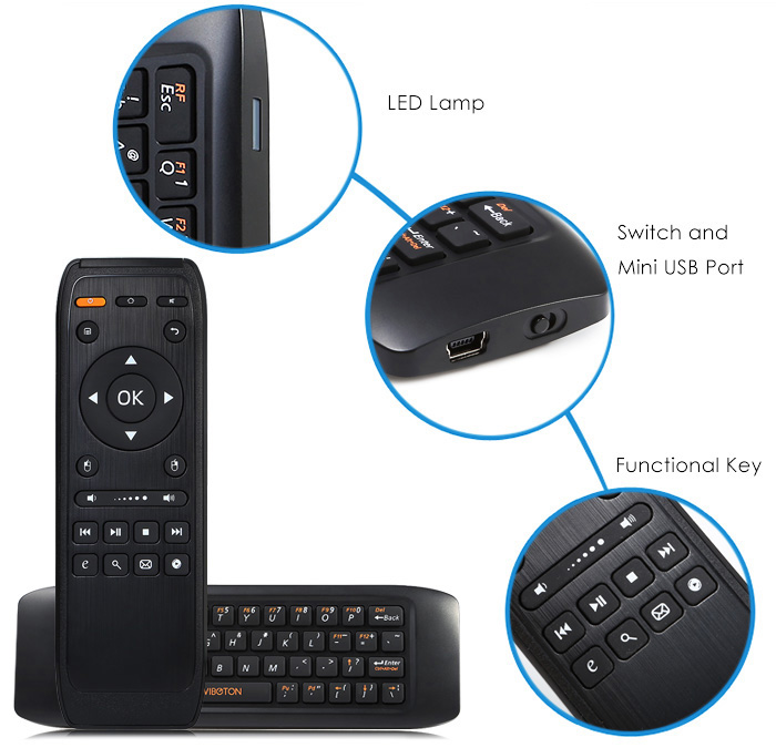 Viboton KB - 91 2.4GHz Handle Air Mouse + Wireless Keyboard for Home Entertainment