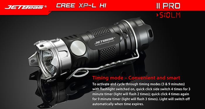 JetBeam II PRO Cree XPL HI 510LM LED Flashlight CNC Machined Aluminum