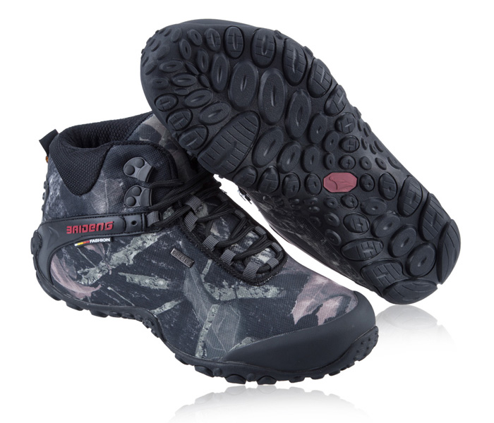 BAIDENG Male Camouflage High Boot Climbing Shoes with Anti-skid Rubber Outsole
