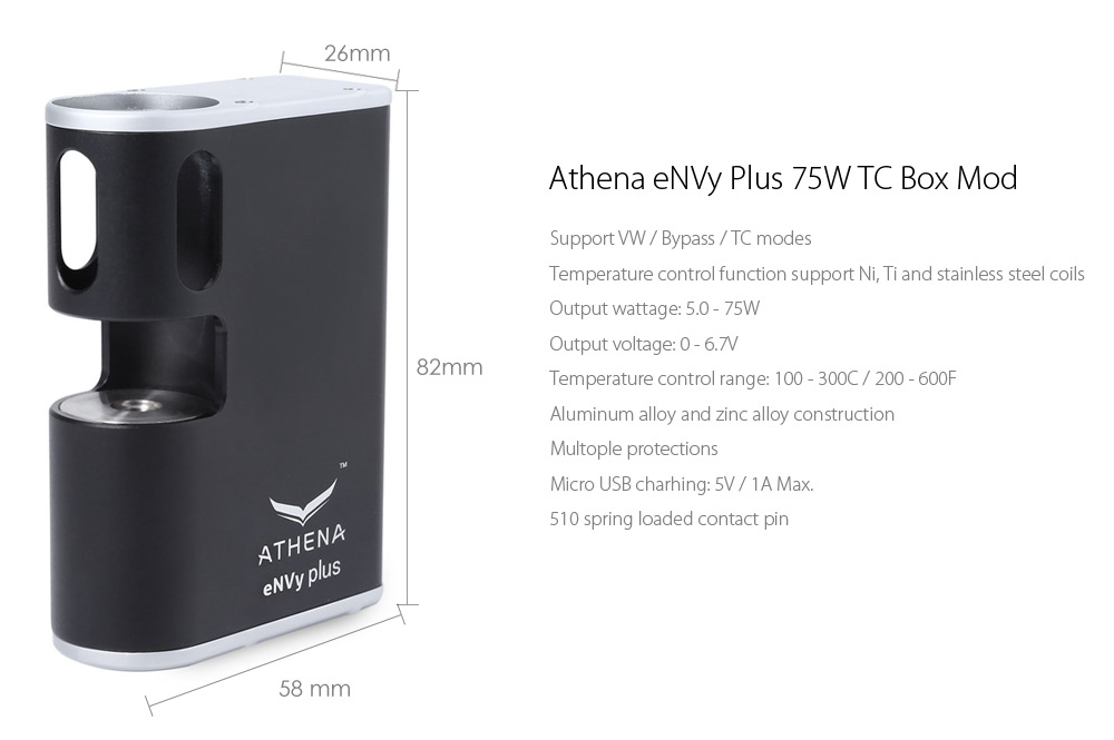 Оригинальный Athena eNVy Plus 75W TC Бокс Мод