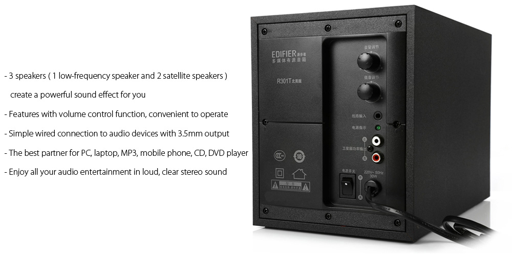 Original EDIFIER R310T Multimedia Wired Speaker Media Music Player with 3.5mm Audio Output