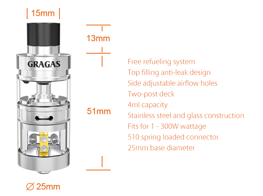 Original Oumier Gragas RDTA with 4ml Capacity / Free Refueling / 2 Posts Deck / Top Filling Anti-leak System Rebuildable Dripping Tank Atomizer for E Cigarette